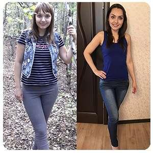 Женщина до и после применения таблеток hoodix
