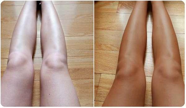 Ноги до и после применения жидких колготок Smart Skin