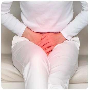 Женщина до применения препарата Уринастоп